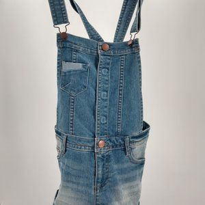 Distressed Denim Overall Shorts Jeans